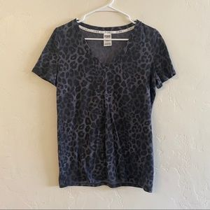 PINK Victoria's Secret Gray Leopard Sleep Shirt S